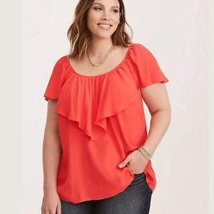 Torrid Blouse Coral Red Flutter Cap Sleeve Size 4